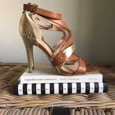 """Spotted while shopping on Poshmark: """"Gold and tan strappy Guess sandals""""! #poshmark #fashion #shopping #style #Guess #Shoes"""