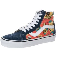 Vans SK8HI REISSUE Hightop trainers star wars/yoda aloha (€31) ❤ liked on Polyvore featuring shoes, sneakers, dark blue, leather high top sneakers, leather shoes, high top shoes, leather high tops and hi tops