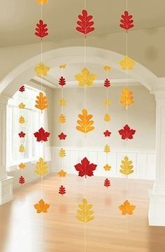 Colors of Fall Thanksgiving Party Autumn Leaves String Decoration, Foil, Pack of 6 Fall Crafts For Kids, Thanksgiving Crafts, Thanksgiving Decorations, Holiday Crafts, Fun Crafts, Art For Kids, Diy And Crafts, Thanksgiving Parties, Preschool Fall Crafts