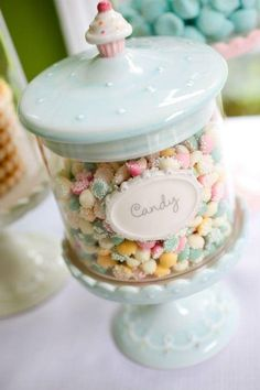 ♔ I need to have this cheery canister on my kitchen counter filled with pastel mints.