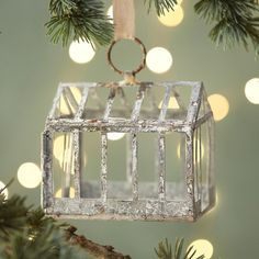 Zinc Greenhouse Ornament ($16) ❤ liked on Polyvore featuring home, home decor, holiday decorations, silver, country home decor, country ornaments, handmade ornaments, farmhouse home decor and country style home decor