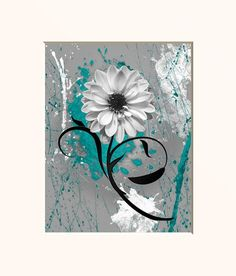 Your place to buy and sell all things handmade Grey Flowers, Daisy Flowers, Aesthetic Iphone Wallpaper, Aesthetic Wallpapers, Canvas Wall Art, Canvas Prints, Canvas Paintings, Grey Wall Art, Teal And Grey