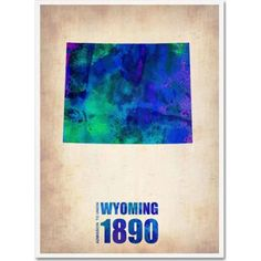 Trademark Fine Art Wyoming Watercolor Map Canvas Art by Naxart, Size: 18 x 24, Multicolor
