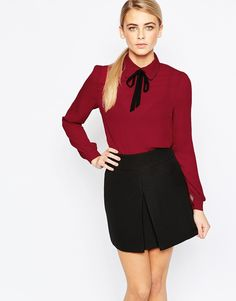 ASOS Fashion Union Shirt with Tie Neck in Berry, £20