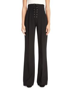 Estrada+High-Rise+Laced+Wide-Leg+Pants,+Black+by+A.L.C.+at+Neiman+Marcus.
