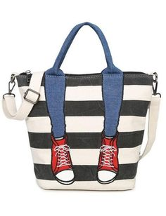 Cheap bag ladies, Buy Quality brand shoulder bag directly from China fashion shoulder bags Suppliers: 2017 Top Fashion Bags Handbags Women Famous Brands Canvas Casual Tote Totes Crossbody Single Shoulder Bag Lady Fashion Handbags, Tote Handbags, Fashion Bags, Korea Fashion, Fashion Accessories, Diy Tote Bag, Bags 2017, Striped Canvas, Wholesale Bags