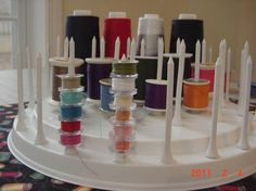 Thread Spool Bobbin Holder Organizer Sewing Room by ilovethathat ~ what a great idea! Golf tees glued to a lazy susan! Sewing Room Organization, Craft Room Storage, Craft Rooms, Storage Ideas, Sewing Hacks, Sewing Crafts, Sewing Projects, Sewing Tips, My Sewing Room