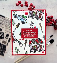Sunny Studio Stamps: Christmas Home One Layer Stamped Background Christmas Card by Vanessa Menhorn