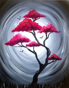 Easy Landscape Paintings, Simple Acrylic Paintings, Nature Paintings, Beginner Painting, Tree Art, Painting Techniques, Painting & Drawing, Moon Painting, Tree Of Life Painting