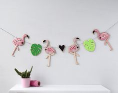 Flamingo Garland, Nursery Garland, bunting, Children's room decor, tropical nursery decor, Felt Garland, kitsch Kids decor