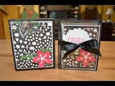 """Envelope Punch Board Card Box with Lid  Use the envelope punch board to make a box for 4 1/4"""" x 5 1/2"""" cards and A2 envelopes. Directions included for either a clear lid or a heavy cardstock lid. Great for gifts!"""