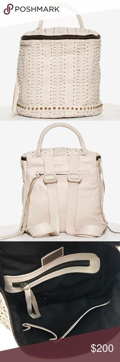 Cleobella Hedi Leather Woven Backpack - GORGEOUS Beautiful woven bucket bag backpack by Cleobella, comes in creamy beige leather, bronze stud detailing, top zip closure, inside pockets, adjustable straps. Like new condition, never used, tags not attached. Cleobella Bags Backpacks
