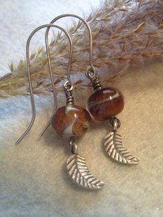 Dangle Earrings Sterling Silver Earrings Glass by LadonnaStudio, $45.00