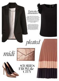 """Rose gold"" by pamela-802 ❤ liked on Polyvore featuring Miss Selfridge, Alexander Wang, Rebecca Minkoff, pleated and midiskirts"