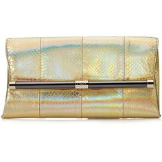Diane von Furstenberg Embossed Leather Envelope Clutch (400 BAM) ❤ liked on Polyvore featuring bags, handbags, clutches, gold, genuine leather handbags, envelope clutch bag, embossed leather handbag, metallic leather handbags and envelope clutch