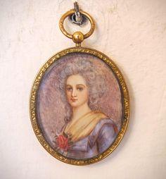 Antique portrait miniature, gilt silver frame, early 19th century 18th Century Costume, Antique Silver, 19th Century, Art Decor, Miniatures, Hand Painted, Paintings, Portrait, Antiques