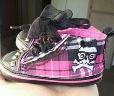 0 6 Month Baby Girl Shoes Pink Black Punk Rock Skull and Cross Bones...For Reagan.. Nana's little punk rocker baby! :)
