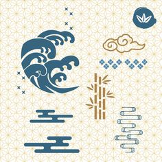 #Japanese #icons #pattern #background. #Wave, #cloud, #bamboo #symbol #vector. #elements #decoration #oriental #Asian #Chinese #china Chinese Icon, Chinese Logo, Chinese Symbols, Japanese Icon, Japanese Waves, Japanese Design, Japanese Style, Cloud Illustration, Japan Illustration
