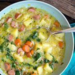 Omas Kartoffelsuppe mit Würstchen - Madame Cuisine Grandma 's Potato Soup with Sausages Madame Cuisi Best Dinner Recipes Ever, Best Soup Recipes, Whole 30 Recipes, Potato Recipes, Lunch Recipes, Breakfast Recipes, Chicken Recipes, Healthy Chicken, Crock Pot Recipes