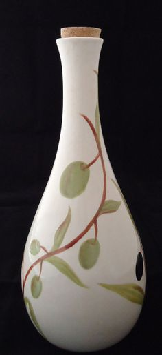 Hand Painted Ceramic Olive Oil Bottle with cork by MBDArtStudio, $45.00
