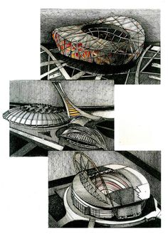 World Stadiums on Behance Behance, Sketches, Architecture, World, Drawings, Arquitetura, The World, Doodles, Drawing