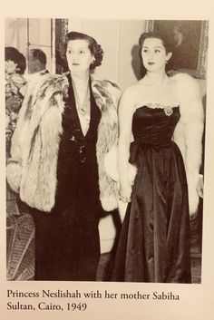 Neslishah And Her Mother Sabiha Sultan, Cairo 1949 Strapless Dress Formal, Formal Dresses, Egypt, Daughter, Golden Days, Glamour, Hyderabad, History, Princesses