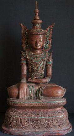 Burmese Hollow Lacquer Jambhupati King Buddha Statue 19th Century