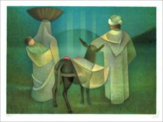 "TOFFOLI Louis - Lithographie Originale ""En promenade (fuite en Egypte)"" 56x76cm - 1991"