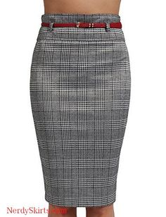 71dcc667c247 J. LOVNY Womens Simple Knee Length Work Office Pencil Skirts with Belt