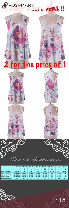 💥Amor Adore DEAL💥2 Floral Print Sublimation Tops 💥QTY of 2 Floral Print Sublimation Tank Top💥  🔸62% Polyester 33% Rayon 5% Spandex 🔸Made in USA ‼️PRICE IS FIRM‼️ Unless bundled!!  ✔️Serious buyers please & No Low ballers!  To me it's asking half or more off an item is Low Balling.   ✔️Please understand the sizes listed on the size chart are different between manufacturers & suppliers & this chart should only be used as an approximate guide. Amor Adore Tops Tank Tops