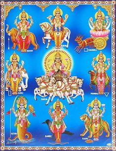Navagrahas fall under the the Hindu Astronomy and play a major part in the Hindu Astrology sphere. In Hindu Astrology, Navagrahas affects a person's happiness, success and all-round prosperity. Shiva Art, Krishna Art, Hindu Art, Durga Images, Lakshmi Images, Om Namah Shivaya, Maa Durga Image, Lord Shiva Family, Lord Krishna Wallpapers