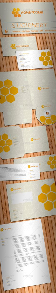 Honeycomb Stationery #GraphicRiver Simple, c