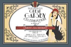 DIY Printable Custom Roaring 1920's Flapper / Great Gatsby Party Invitation