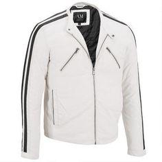 Marc New York Faux-Leather Stripe Sleeve Moto Jacket