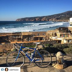"#Repost @carrozo  The #CityBikes challenge is on and this was our first entry. Matthew shared his ""sexy blue bike"" looking over Guincho beach in Cascais #Portugal ! How many likes for him and his double-wheeled pal?  #Cascais #Guincho #Portugal #Beach #Waves #Landscape #Cycling #BlueSkies #LisboaLive #Lisbon #Portugal"