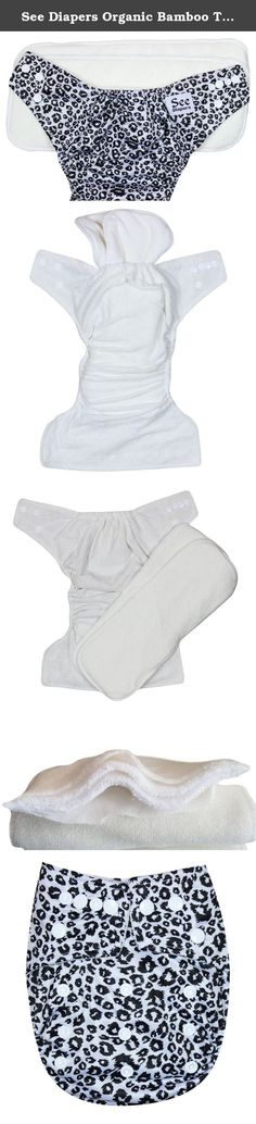 See Diapers Organic Bamboo Terry Baby Cloth Diaper - 2 Bamboo Inserts Cheeta. This Organic Bamboo One Size Pocket Diaper consist of 2 parts: a waterproof outer shell + 2 large Grade A Organic bamboo inserts. The outer shell is made of high quality, durable and soft fabric. Laminated with the new and improved Thermoplastic Polyurethane (TPU), a composition specifically adapted to produce non-porous membranes exhibiting waterproof and water vapor transmissible. The result is a high…