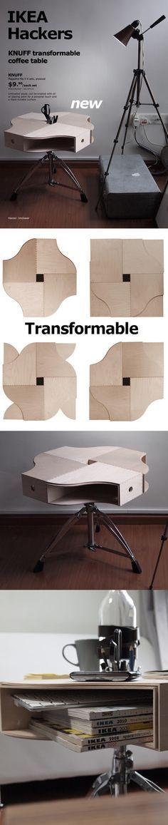Mesita de café con taburete y archivadores de Ikea