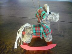Cork rocking horse ornament