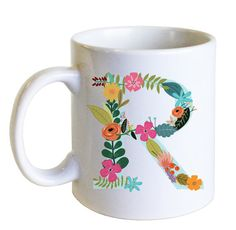 Floral Initial Mug  Vintage Flowers  Coffee Mug  by SweetHelene, $18.00