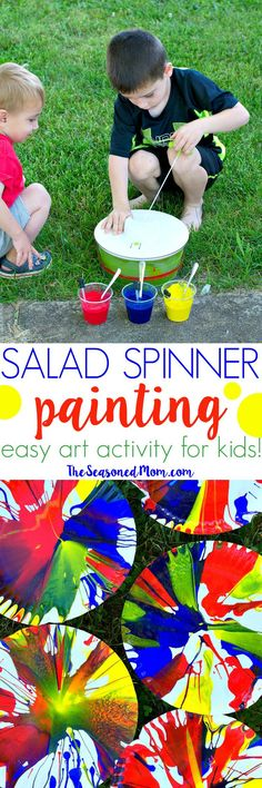 Teach your kids about color mixing and let their imaginations run wild with this Easy Art Activity for Kids: Salad Spinner Painting! It's the perfect outdoor craft for toddlers, preschoolers, and kindergarteners!