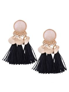 Faux Gem Leaf Disc Tassel Earrings - BLACK