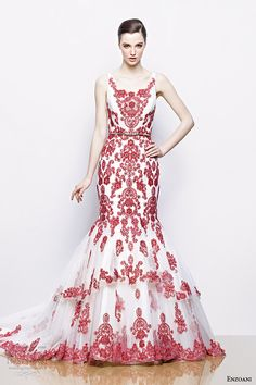 http://www.weddinginspirasi.com/2013/11/25/enzoani-2014-collections-highlights-and-trends-sponsor-highlight/ enzoani 2014 bridal ilyssa red white sleeveless #wedding dress #weddings #weddingdress