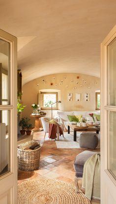 mediterranean homes plans Terracota Floor, Mediterranean Decor, Mediterranean Architecture, Spanish House, Cozy Living, Design Case, Home Living Room, My Dream Home, Sweet Home