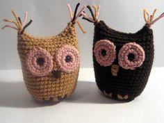 Brown and Pink Mini Owl Amigurumi Buddies by HooksNLoops on Etsy,