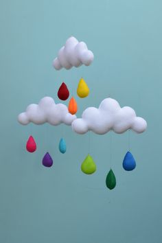 Hand made children's cloud mobile nursery by MilbotandChooky