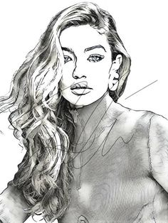 Gigi hadid pencil sketch hand drawn print в 20