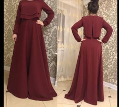 Simple maroon maxi dress, modest, floor length dress, vintage Feminine, hijab - New Dress Modest Fashion Hijab, Abaya Fashion, Fashion Dresses, Hijab Evening Dress, Hijab Dress Party, Trendy Dresses, Simple Dresses, Casual Dresses, Mode Abaya