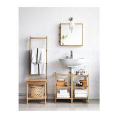 RÅGRUND Pyyheteline/tuoli IKEA Tilaa säästävä ratkaisu; tuoli ja pyyheteline samassa tuotteessa. Bambua, kestävää luonnonmateriaalia.