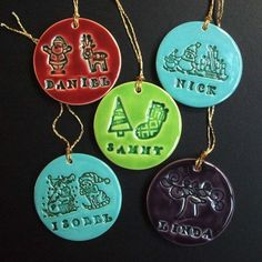 Cute ceramical name tags / X-mas ornaments By Dottery Pottery