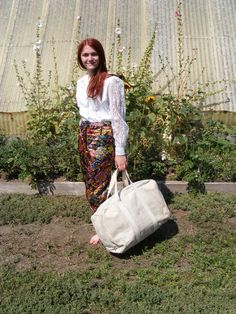 SAra in Hermans Quilted capris with a vtg Western shirt and the Canvas Repurposed Bag